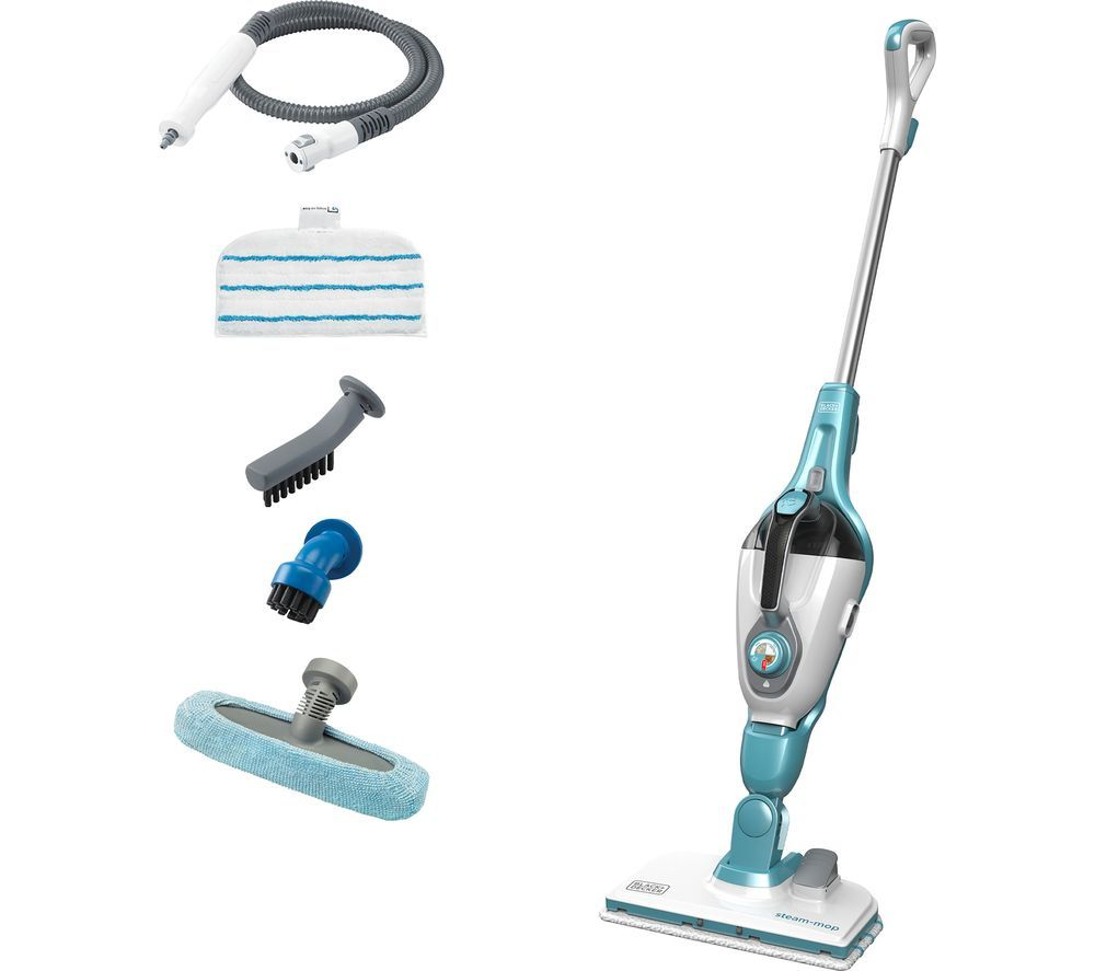 Image of BLACK DECKER FSMH1321 7 in 1 Steam Mop - White & Aqua, Black