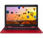 £179, ASUS C223 11.6inch Chromebook - Intel® Celeron®, 32 GB eMMC, Red, Chrome OS, Intel® Celeron® N3350 Processor, RAM: 4GB / Storage: 32GB eMMC, Battery life:Up to 10 hours,