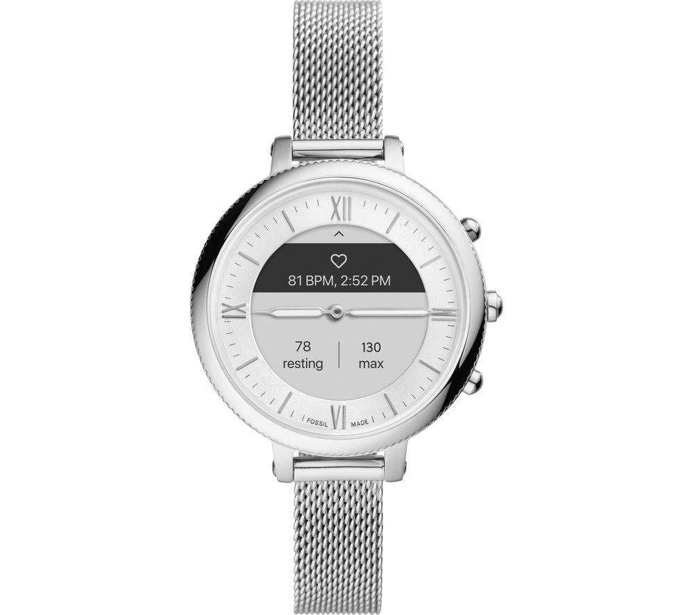 FOSSIL Monroe Hybrid HR FTW7040 Smartwatch - Silver, Stainless Steel Mesh Strap