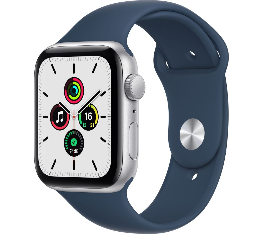 APPLE Watch SE - Silver Aluminium with Abyss Blue Sports Band, 44 mm