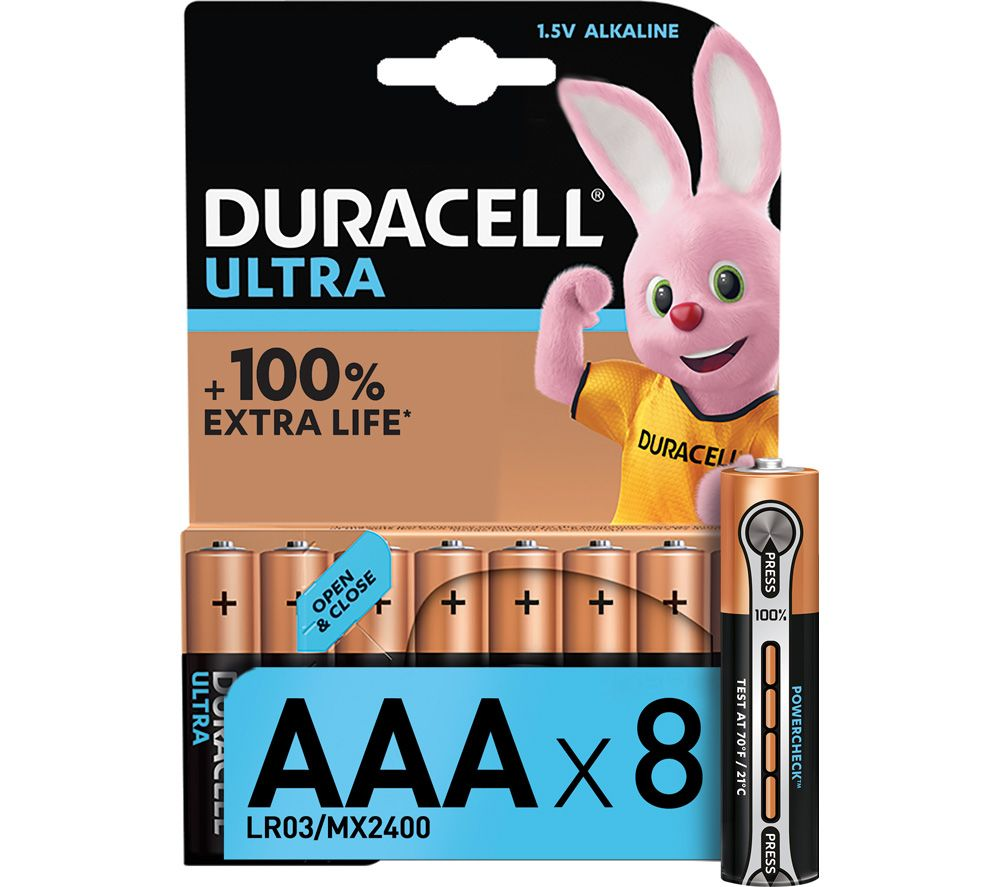 DURACELL LR03/MX2400 Ultra Power AAA Alkaline Batteries - Pack of 8