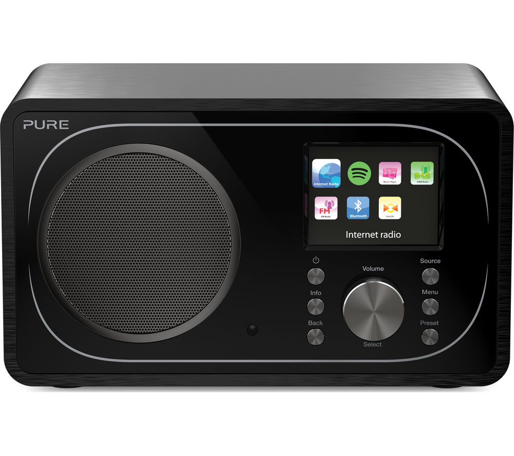 PURE Evoke F3 DAB? Bluetooth Clock Radio - Black, Black