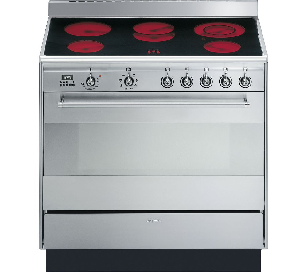 Image of SMEG Concert 90 cm Electric Ceramic Range Cooker - Stainless Steel, Stainless Steel