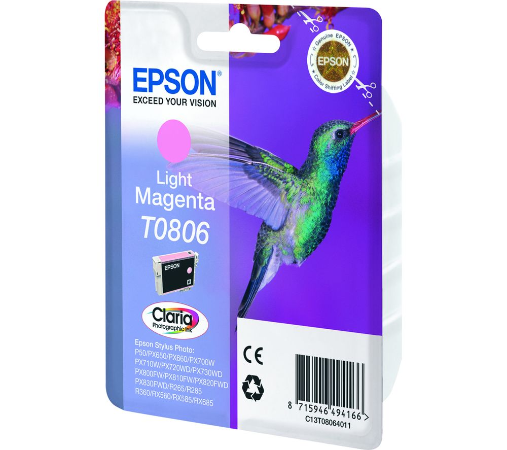 Image of EPSON T0806 Hummingbird Light Magenta Ink Cartridge, Magenta