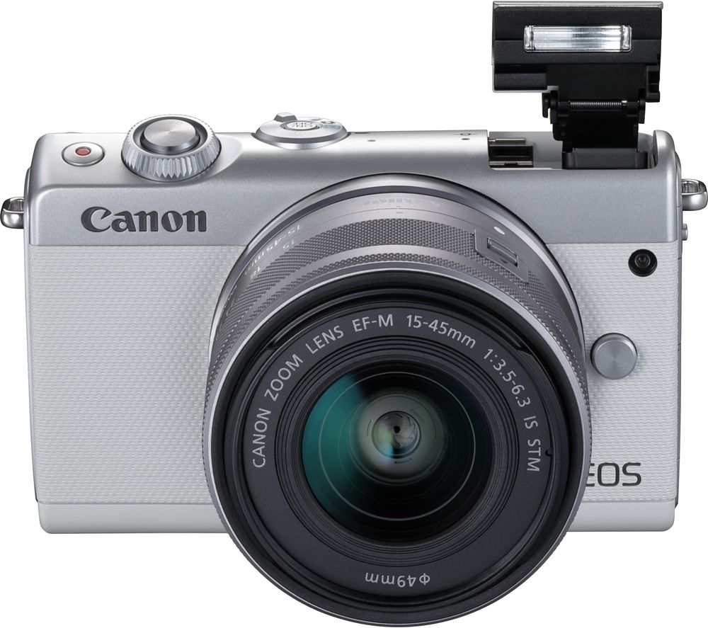 Canon Eos M100 Mirrorless Camera With Ef M 15 45 Mm F 35 63 Is Stm Lens White White