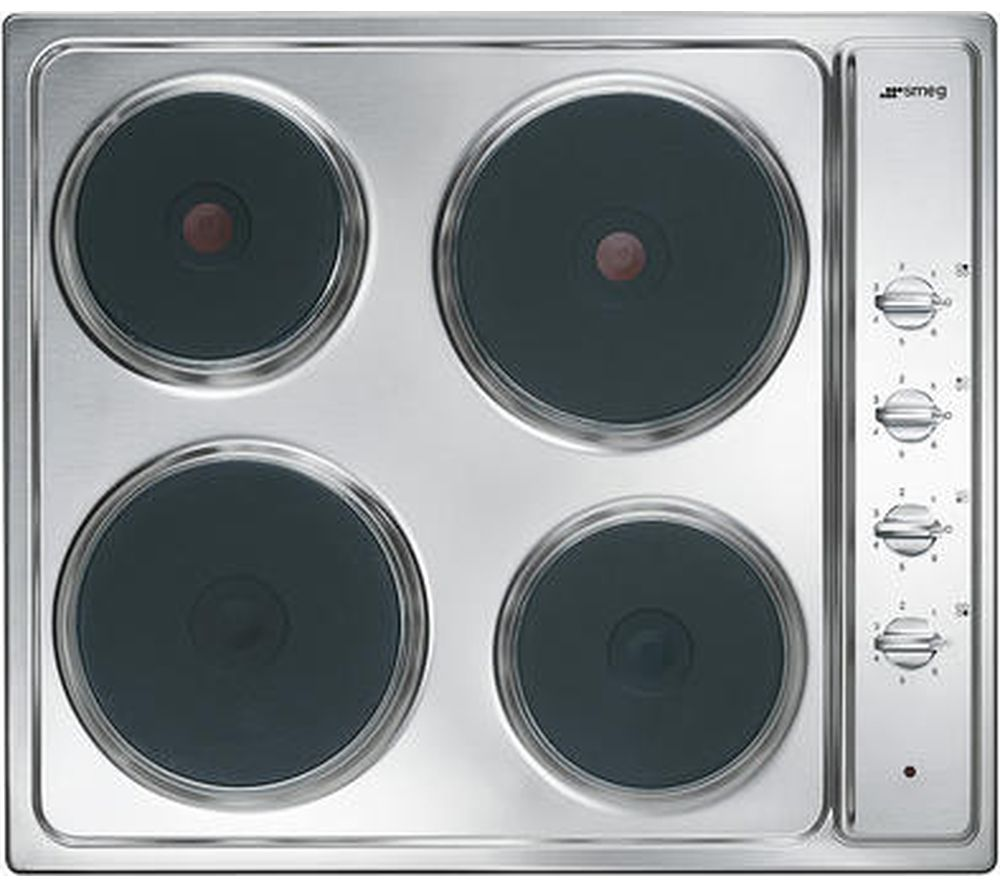 Image of SMEG Cucina SE435S Electric Solid Plate Hob - Stainless Steel, Stainless Steel