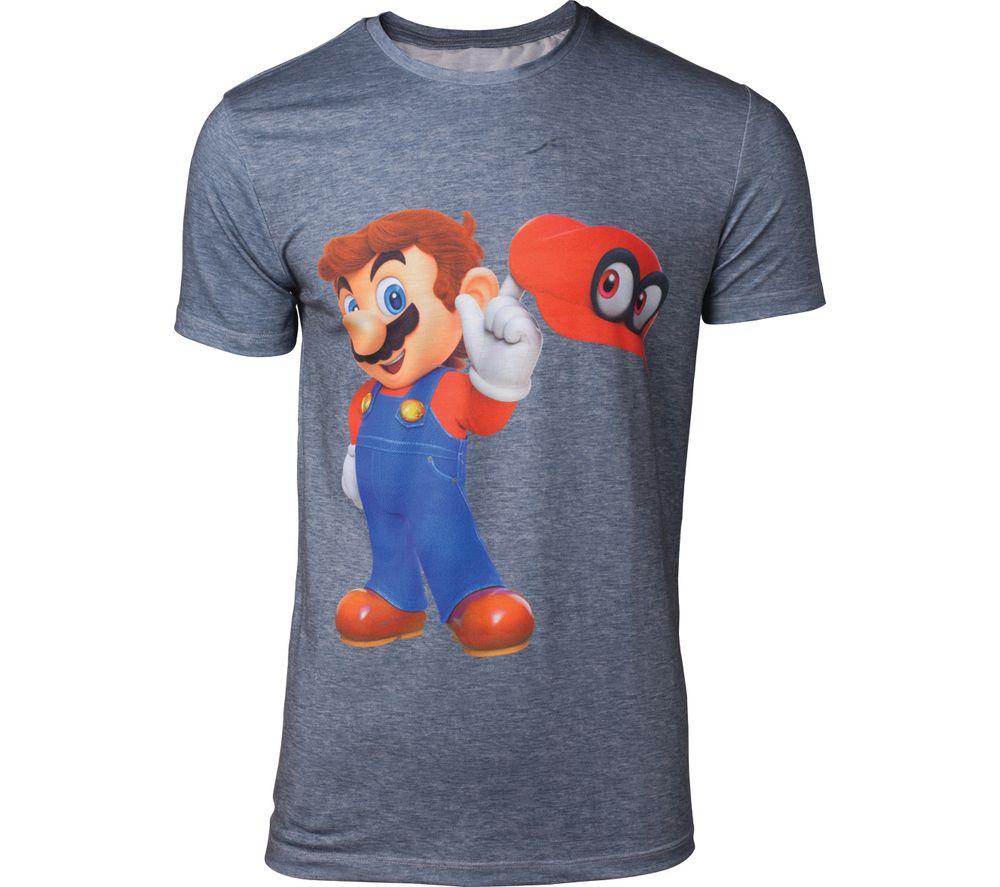 NINTENDO Super Mario Odyssey Mario & Cappy T-Shirt - Large, Grey
