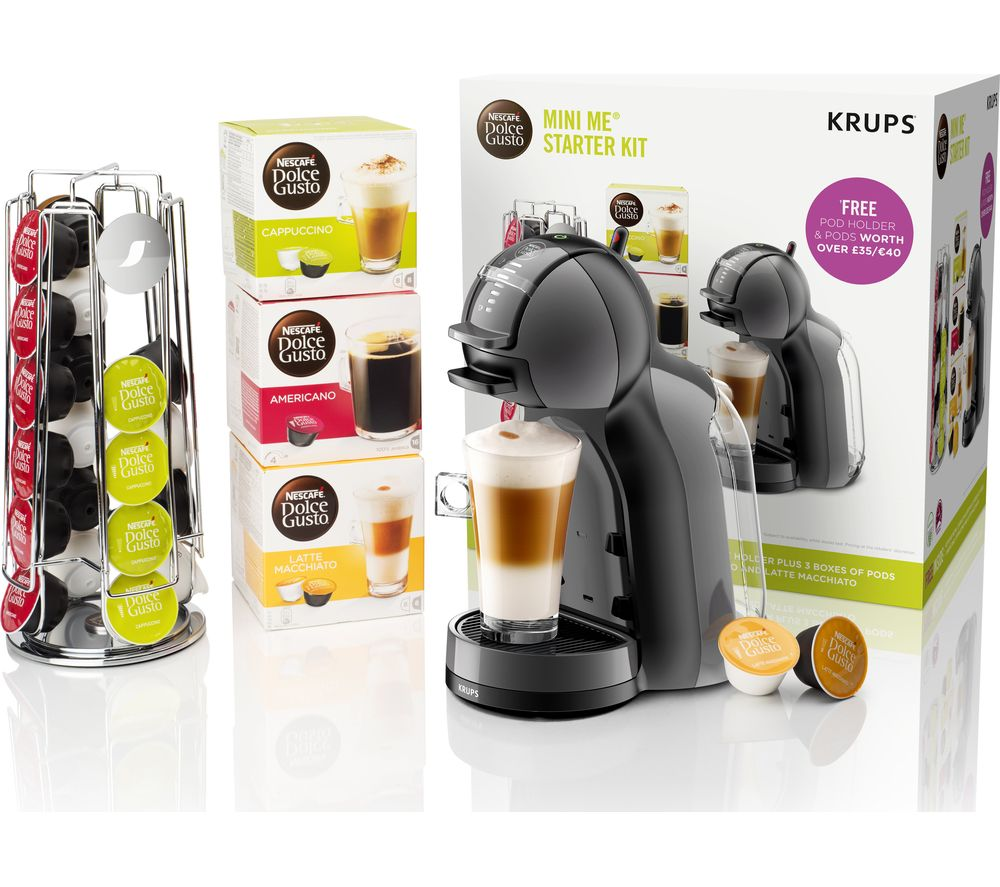 buy dolce gusto by krups mini me kp128bun coffee machine starter kit black grey free. Black Bedroom Furniture Sets. Home Design Ideas