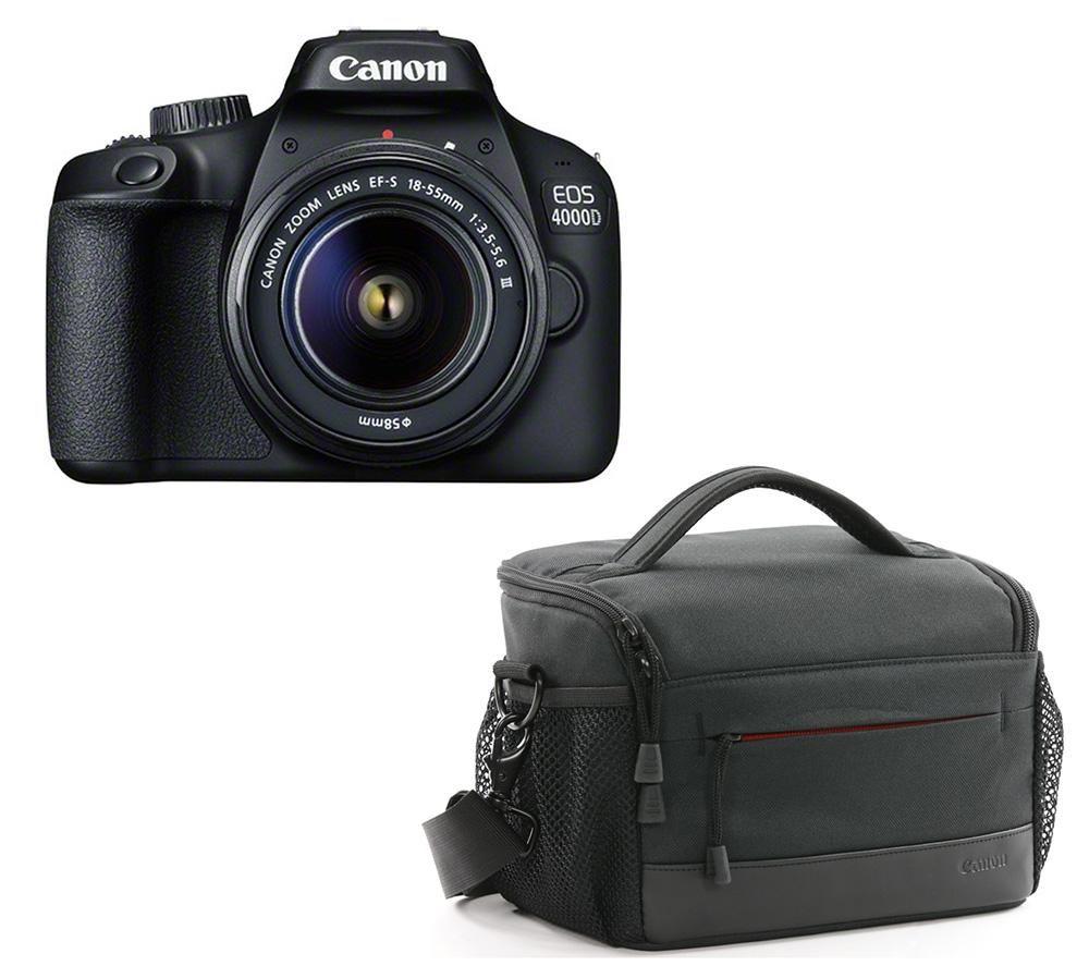 CANON EOS 4000D DSLR Camera, EF-S 18-55 mm f/3.5-5.6 III Lens & ES100 Bag Bundle