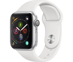 APPLE Watch Series 4 - Silver & White Sports Band, 40 mm
