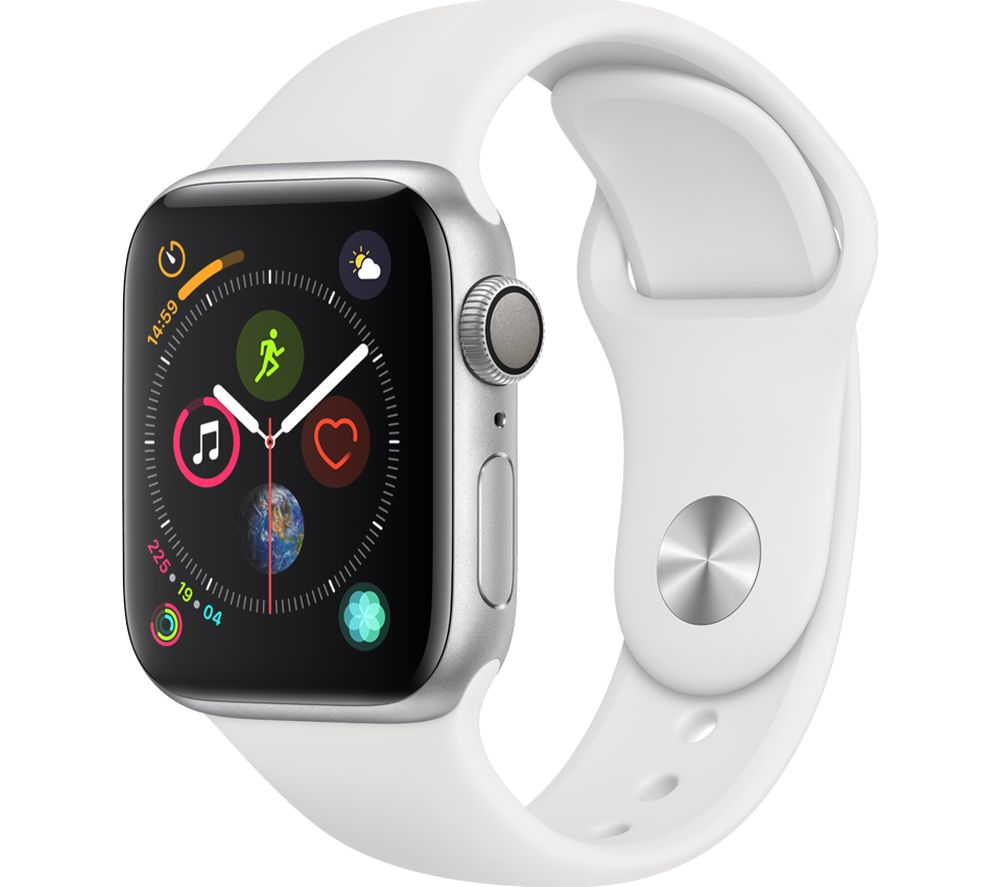 APPLE Watch Series 4 Silver White Sports Band 40 mm Silver cheapest retail price