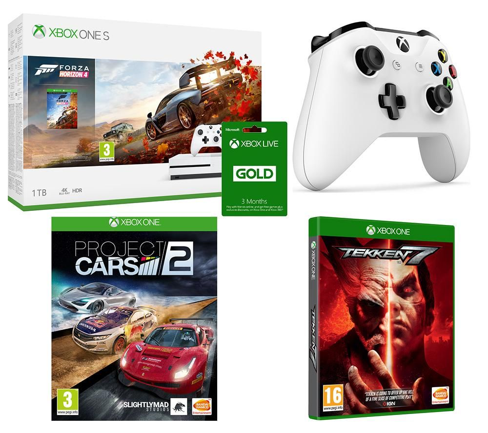 Image of MICROSOFT Xbox One S, Forza Horizon 4, Tekken 7, Project Cars 2, Xbox LIVE Gold & Wireless Controller Bundle, Gold