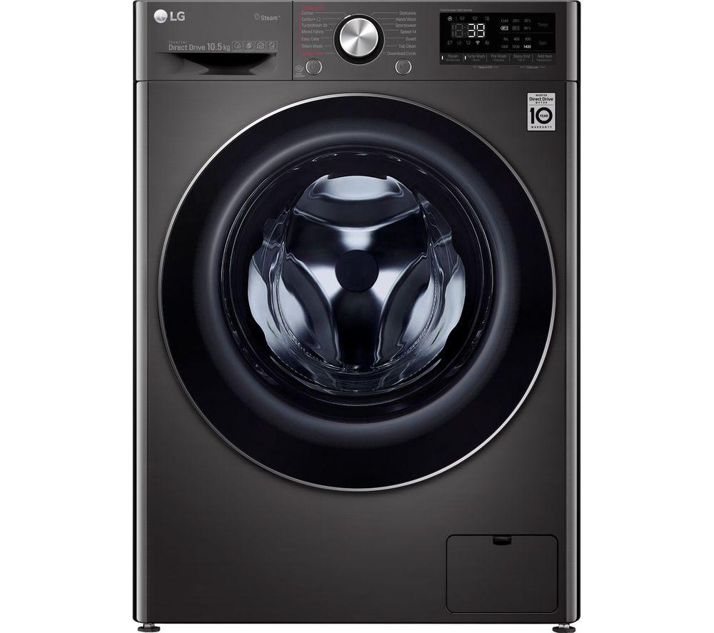 LG TurboWash 360 with AI DD V9 F4V910BTS WiFi-enabled 10.5 kg 1400 Spin Washing Machine - Black Steel
