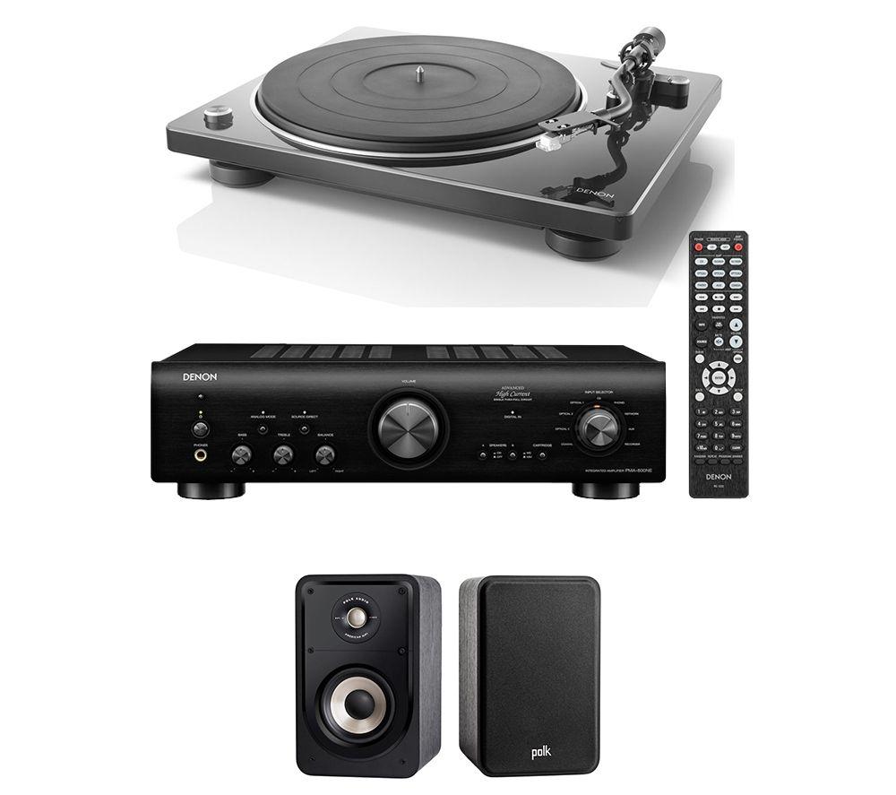 DENON PMA-800NE Integrated Amplifier, Belt Drive Turntable & Bookshelf Speakers Bundle - Black, Black
