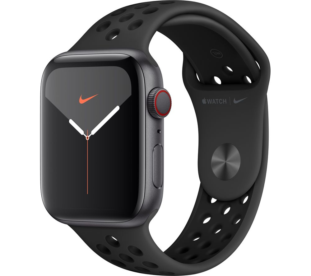 APPLE Watch Series 5 Cellular - Space Grey Aluminium with Anthracite & Black Nike Sports Band, 44 mm
