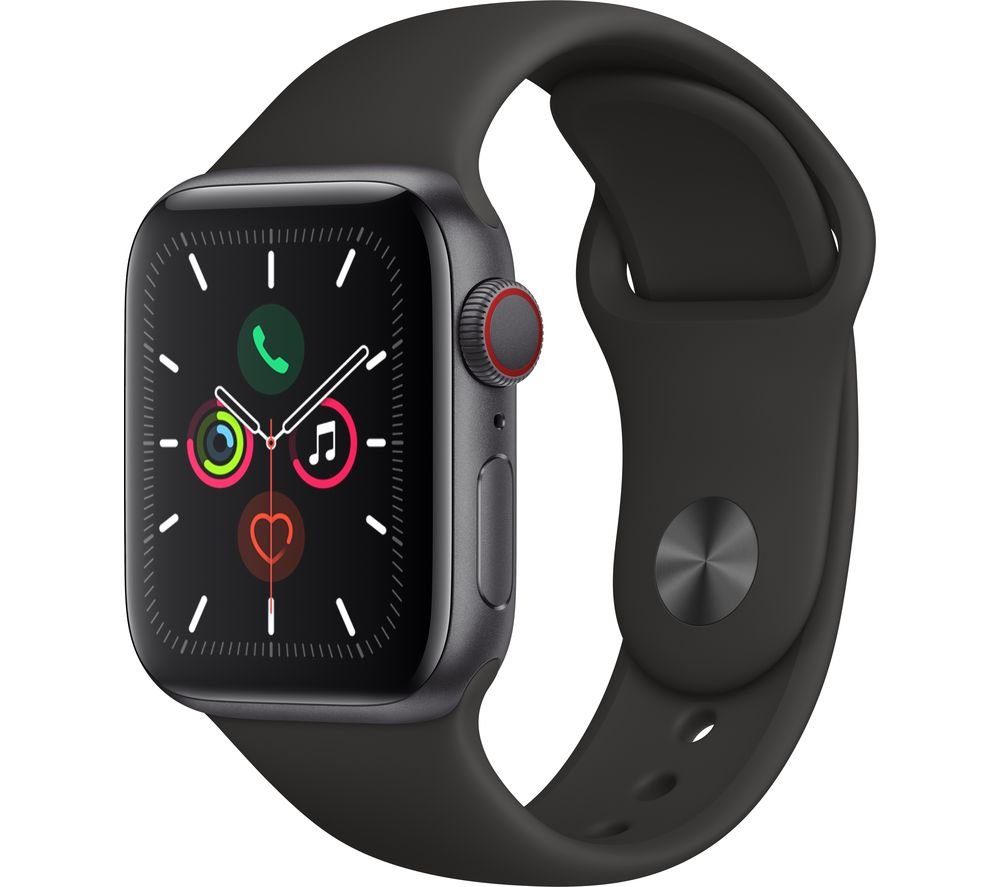 APPLE Watch Series 5 Cellular - Space Grey Aluminium with Black Sports Band, 44 mm