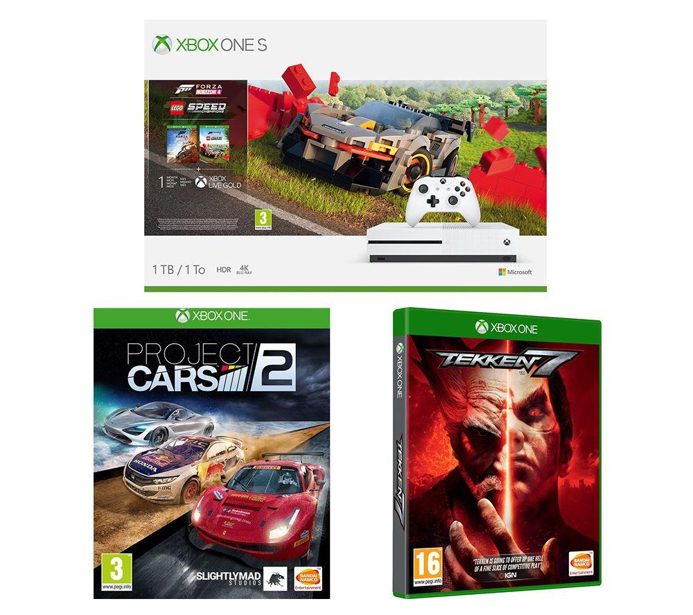 MICROSOFT Xbox One S, Forza Horizon 4, LEGO Speed Champions, Tekken 7 & Projects Cars 2 Bundle