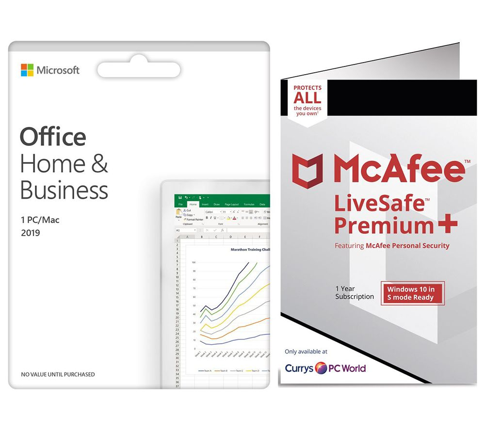 Image of MICROSOFT Office Home & Business 2019 & McAfee LiveSafe Premium 2020 Bundle