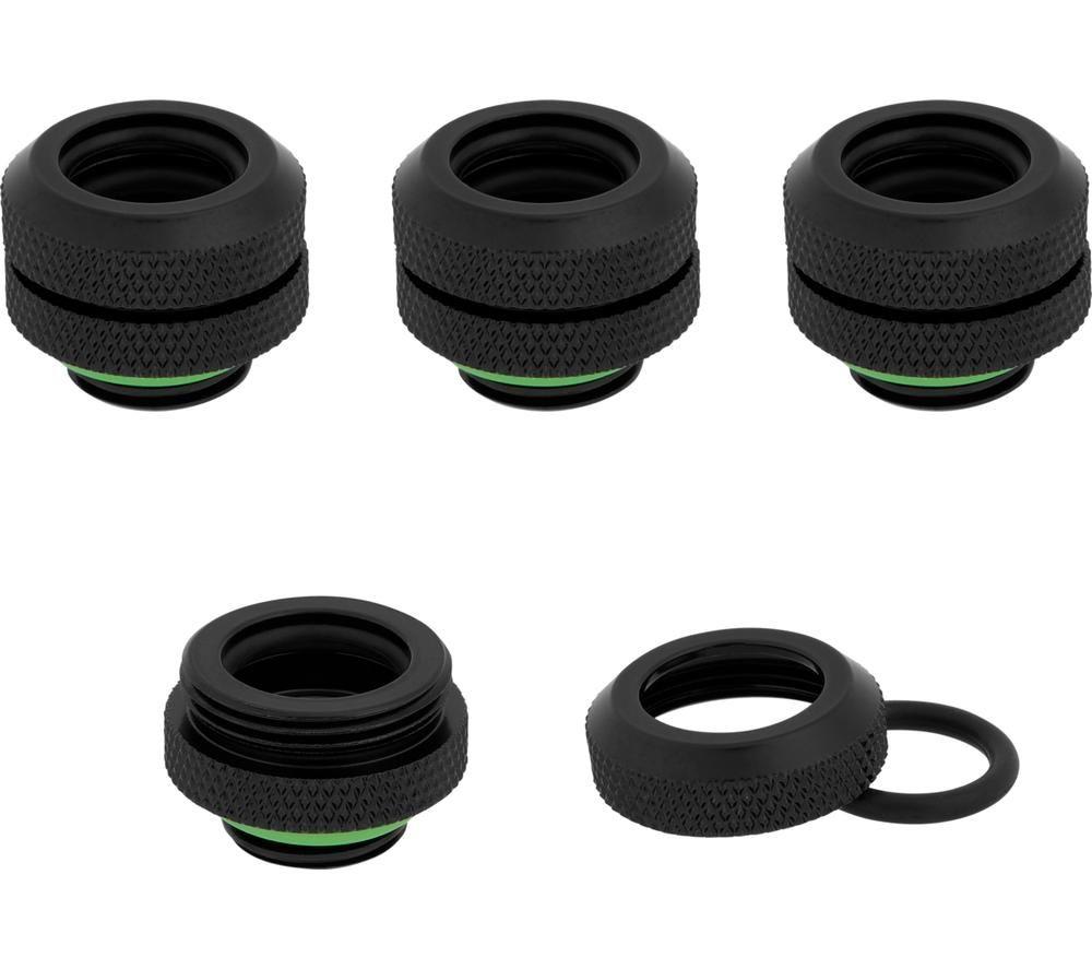 CORSAIR Hydro X Series XF 12mm Hardline Fitting - Black, Pack of 4, Black