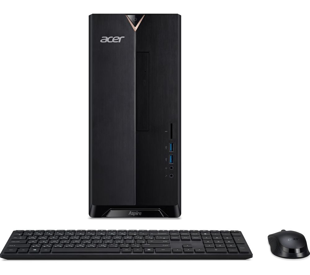 ACER Aspire TC-390 Desktop PC - AMD Ryzen 3, 1 TB HDD & 128 GB SSD, Black, Black