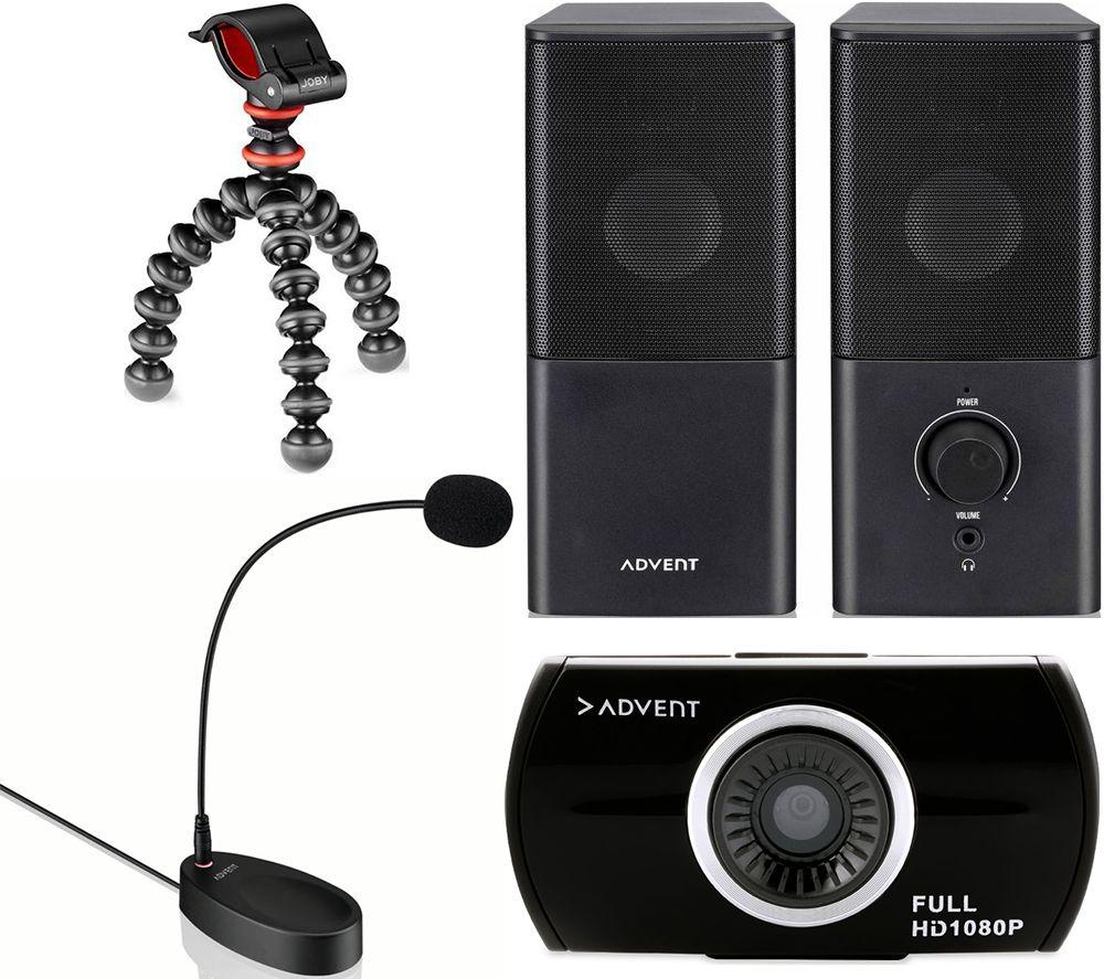 ADVENT The New Vlogger Bundle - Speakers, Gorillapod Starter Kit, Webcam & Microphone