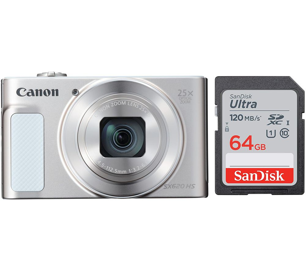 Canon Powershot Sx620 Hs Compact Camera 64 Gb Memory Card Bundle White White