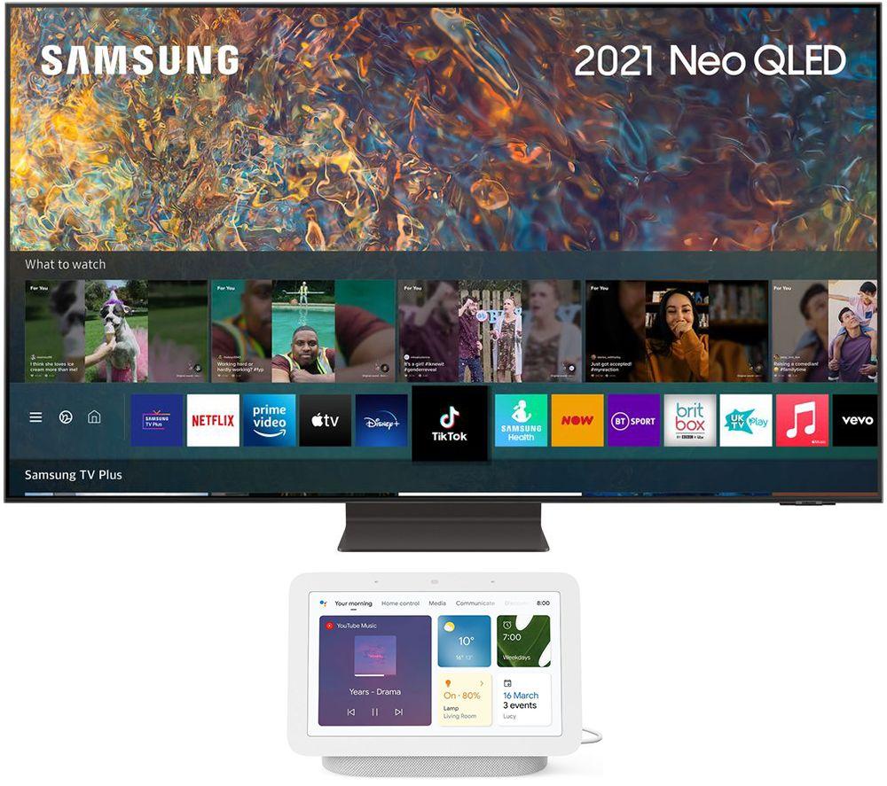 """SAMSUNG QE75QN94AATXXU 75"""" 4K Ultra HD Neo QLED TV & Chalk Google Nest Hub (2nd Gen) Bundle"""