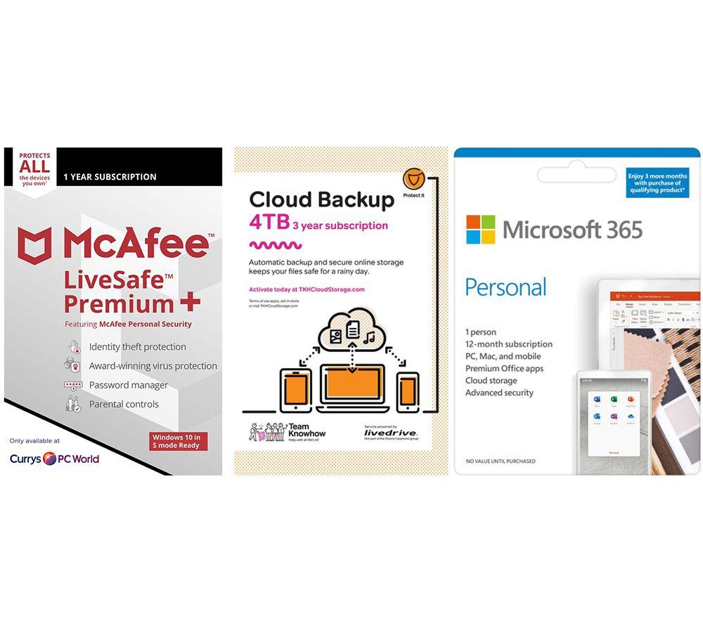 Image of MCAFEE LiveSafe Premium, Microsoft 365 Personal & Knowhow 4 TB 3 Years Cloud Backup Bundle