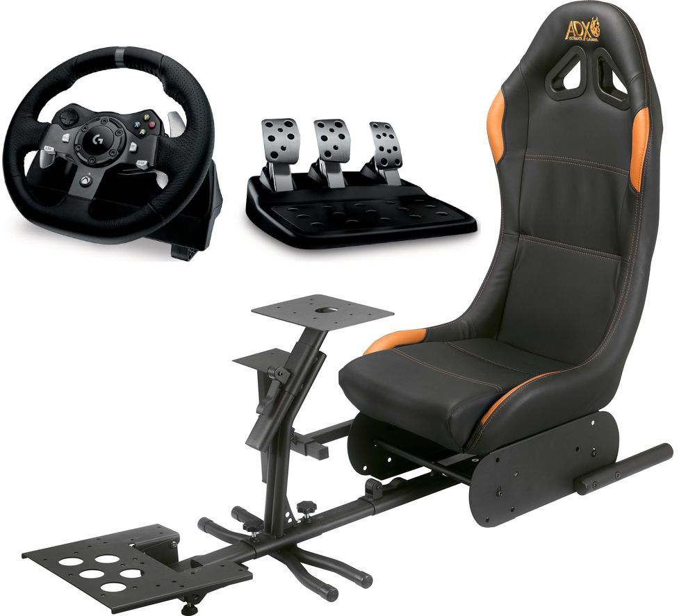 LOGITECH Driving Force G290 Xbox & PC Racing Wheel, Pedals & ADX Gaming Chair Bundle