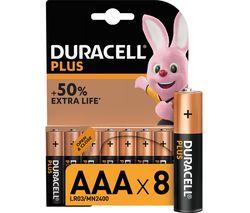 DURACELL LR03/MX2400 Plus Power AAA Alkaline Batteries - Pack of 8