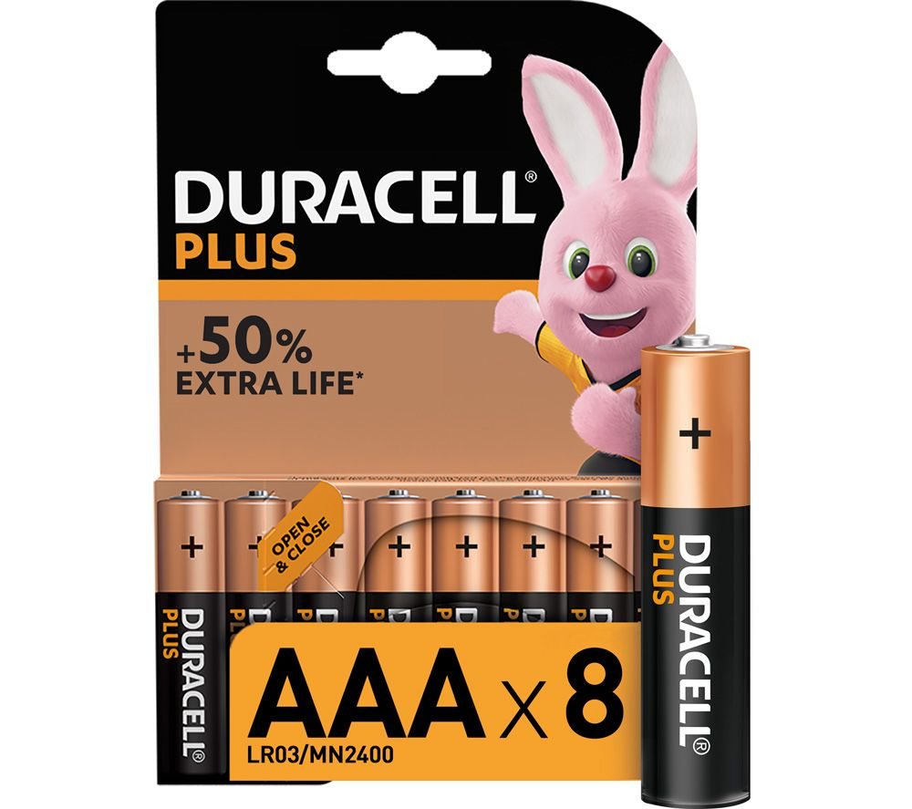 DURACELL LR03/MX2400 Plus Power AAA Alkaline Batteries - Pack of 8