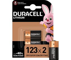 DURACELL DL123A/CR123A/EL123A Ultra Photo 123A Lithium Camera Batteries - Pack of 2