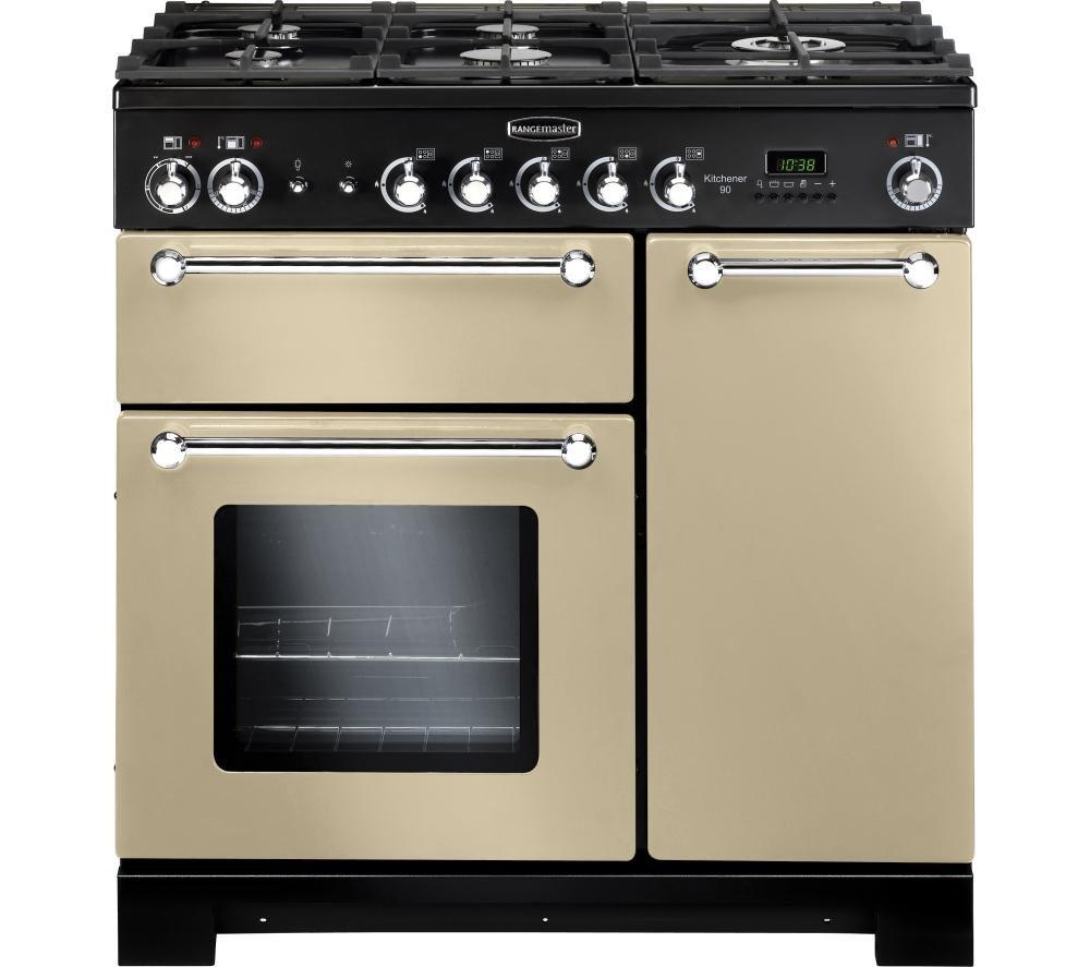 RANGEMASTER Kitchener 90 Dual Fuel Range Cooker - Cream & Chrome