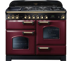 RANGEMASTER Classic Deluxe 110 Dual Fuel Range Cooker - Cranberry & Brass