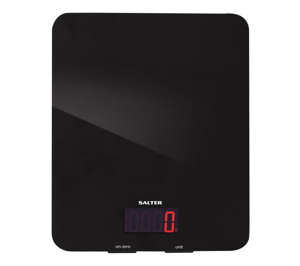 SALTER Black Glass Digital Kitchen Scales