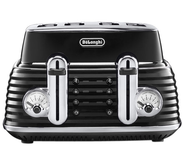 Image of DELONGHI Scultura CTZ4003BK 4-Slice Toaster - Black