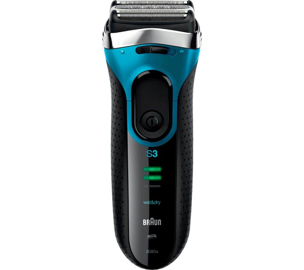 BRAUN 3 Series 3080S Wet & Dry Shaver - Black & Blue