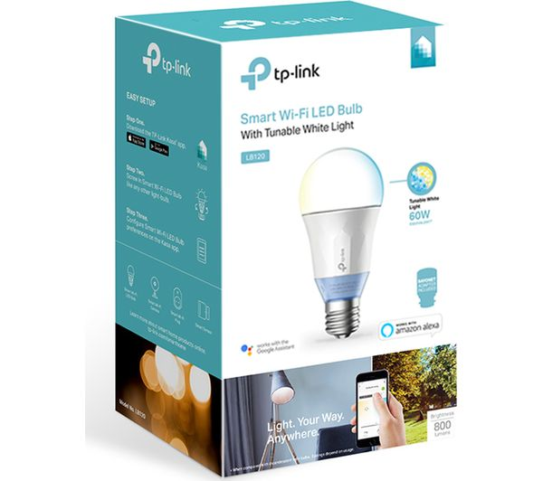 TP-LINK LB120 Smart WiFi LED Bulb - E27 with B22 Adapter + Home - White