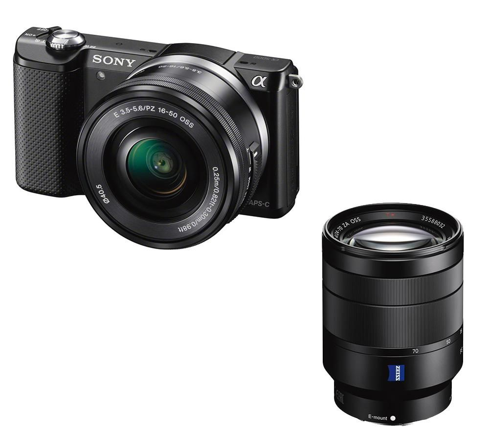 SONY a5000 Mirrorless Camera with 16-50 mm f/3.5-5.6 & 24-70 mm f/4 Lens Bundle