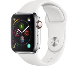 APPLE Watch Series 4 Cellular - Silver & White Sports Band, 40 mm