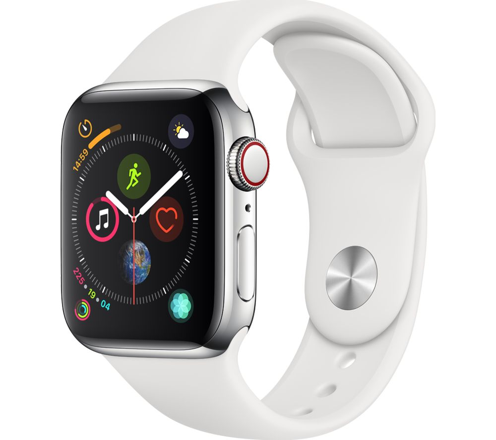 APPLE Watch Series 4 Cellular Silver White Sports Band 40 mm Silver cheapest retail price