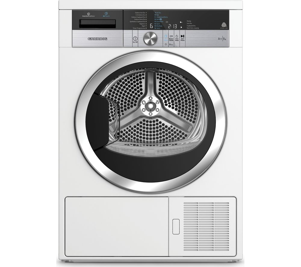 GRUNDIG AirTouch GTN38250TGCW 8 kg Heat Pump Tumble Dryer - White, White
