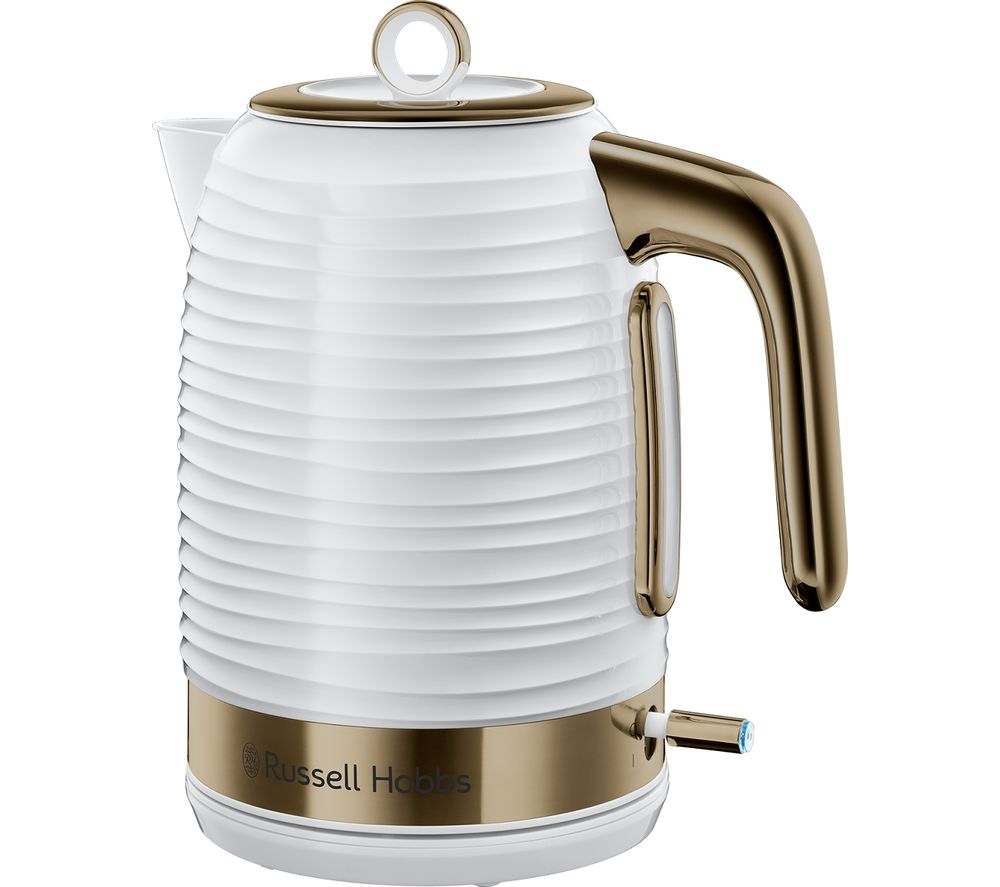 Inspire Luxe Jug Kettle - White & Brass, White