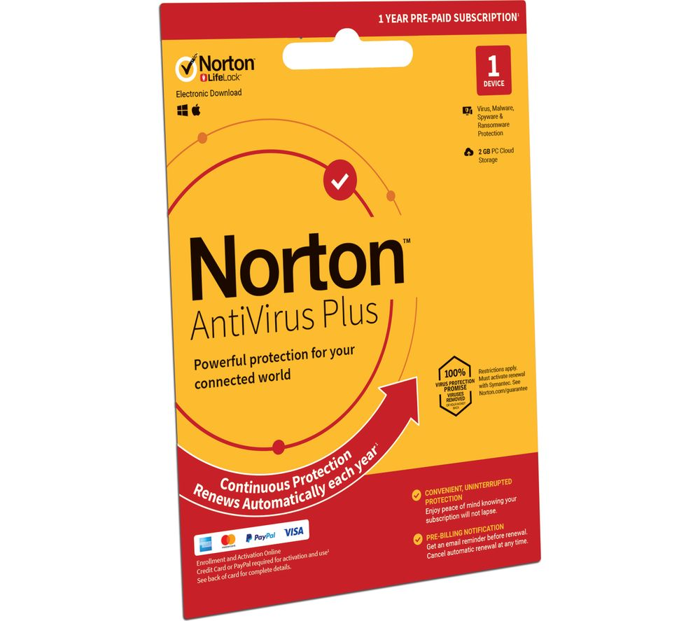 NORTON AntiVirus Plus - 1 year for 1 device