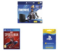 SONY PlayStation 4 Pro with Fortnite Neo Versa, Spider-Man & PlayStation Plus Bundle