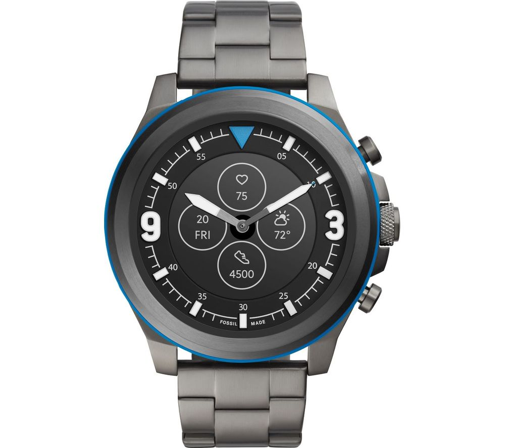 FOSSIL Latitude Hybrid HR FTW7022 Smartwatch - Smoke & Blue, Stainless Steel Strap, 50 mm