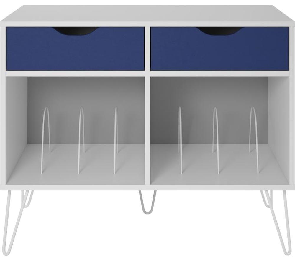 Image of DOREL HOME Concord 1323817COMUK Turntable Stand - White & Indigo, White