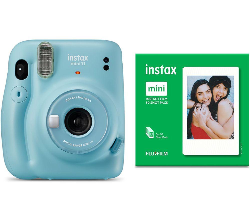 Instax Mini 11 Instant Camera 50 Shot Mini Film Pack Bundle Sky Blue Blue