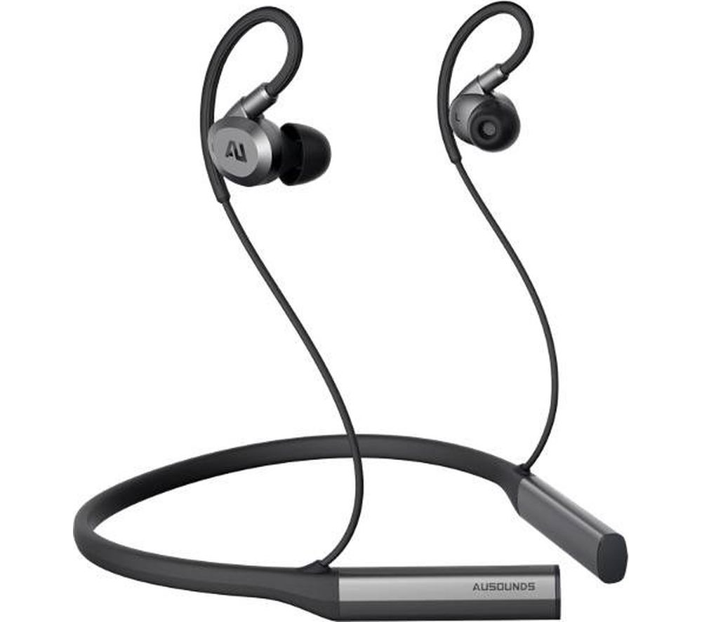 AUSOUNDS AU-Flex Wireless Bluetooth Noise-Cancelling Earphones - Black & Silver
