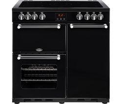 Kensington 90E Electric Ceramic Range Cooker - Black & Chrome